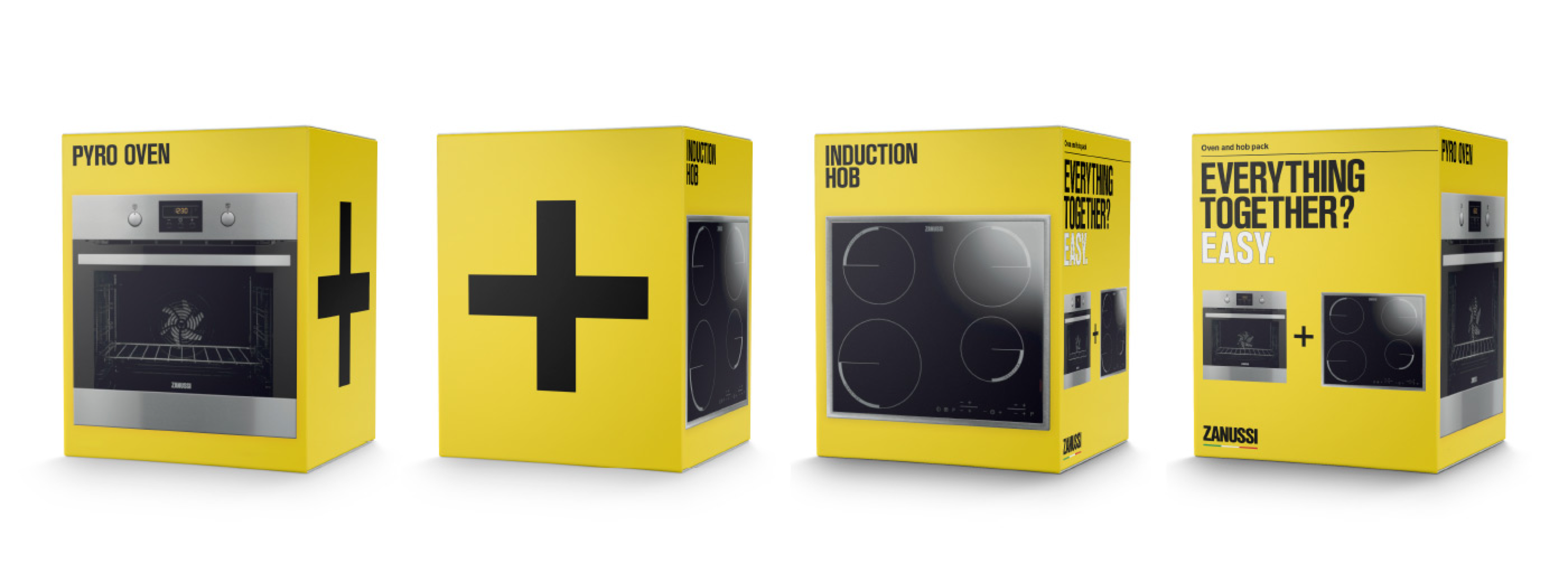 Zanussi, packaging, box, design, yellow
